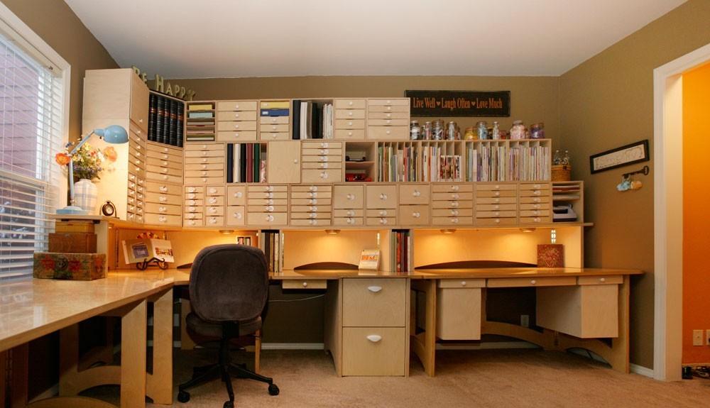 Scrapbook Desk And Storage Shelves
